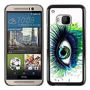 TECHCASE**Cubierta de la caja de protección la piel dura para el ** HTC One M9 ** Green Blue Eye Lashes Painting Watercolor Art