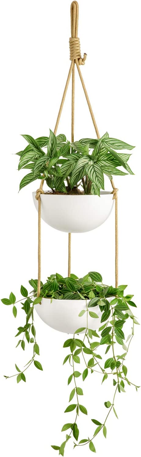 Mkono Ceramic Double Hanging Planter 2 Tier Round Flower Plant Pot 9 Inch Porcelain Hanging Basket with Polyester Rope Hanger for Indoor Outdoor Herbs Ferns Ivy Modern Vertical Garden, White