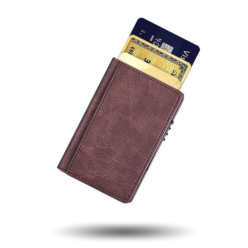 Bojly Porte-Cartes de CR/¨/¦Dit Portefeuille de Carte Anti-RFID et NFC Scan Brun Protecteur de Cartes bancaires Support Max 9 Carte pour Homme et Femme 2 Etuis Antivol en Aluminiumen et PU