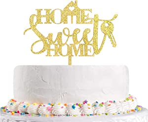 Home Sweet Home Cake Topper,Gold Glitter Welcome Home,Housewarming,New Home Party Decoration Supplies(Acrylic)