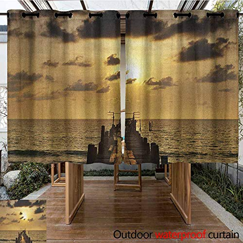 AndyTours Outdoor Curtain Panel for Patio,Landscape,Old Wooden Deck Pond Over The Sea Horizon Sunset Time of The Day Peaceful Scene,for Porch&Beach&Patio,K140C160 Yellow Grey