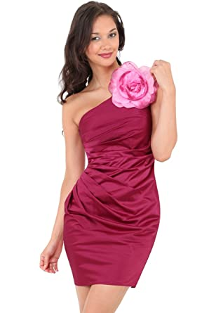 78f48b8ec1 Womens Ladies One Shoulder Ruched Pleated Berry Red Pink Floral Flower  Corsage Evening Party Prom Short Mini Cocktail Dress - 14  Amazon.co.uk   Clothing