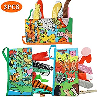 Here Fashion Pack of 3 Soft Animal Tails Cloth Books for Babies - Colorful Animals Stereoscopic Tails Cloth Books for Baby's Early Learning Education Book ( Woodland, Rain Forest & Garden Tail )