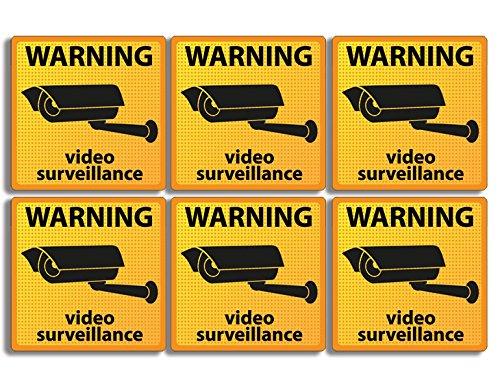Paquete de 6 Pegatinas de Seguridad de Advertencia bajo vigilancia, de Vinilo Americano (cámara de Seguridad de vídeo,...
