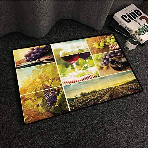 Home Decor Collection Printed Door mat Rustic Style Collage of Wine Glass Grapes and Vineyard Qualified Harvest Village Picture Art Super Absorbent mud W24 xL35 Green Red