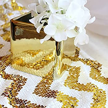 TRLYC 12 By 108 Inch Gold Chevron Sequin Table Runner For Wedding