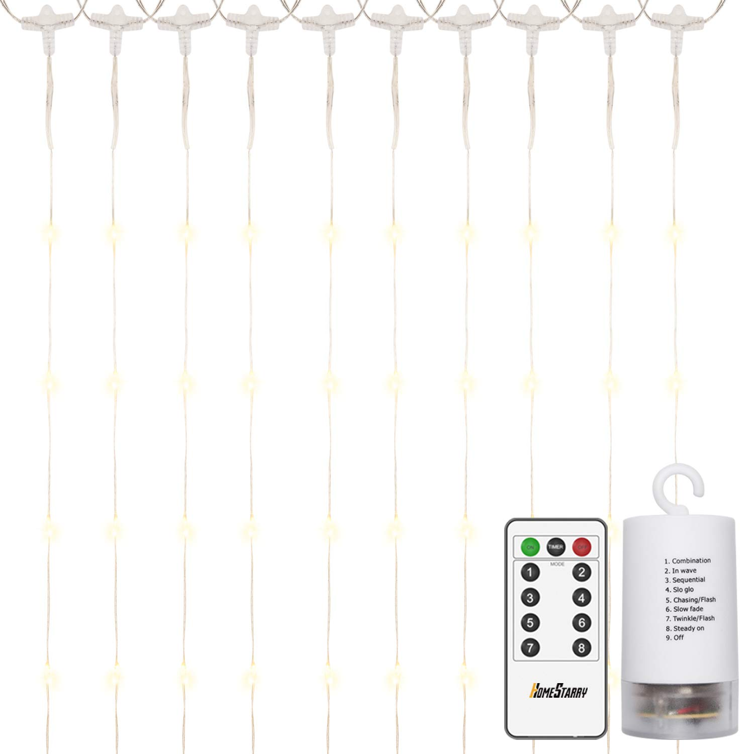 300 LEDs Window Curtain Battery Operated Fairy String Lights,Curtain String Lights with Remote, Twinkle Lights for Party, Wedding Patio Wall Décor Christmas,Indoor and Outdoor 6.3ft x10ft (Warm White)