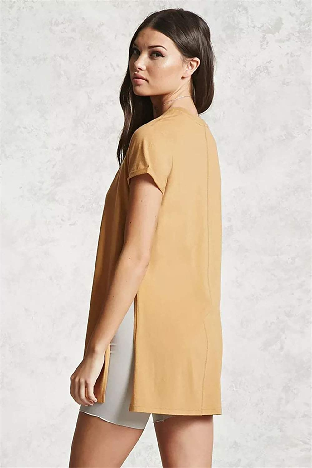 ENCOCO Womens Side Slit Shirt Casual Blouse Top Solid Color Short Sleeve T Shirt