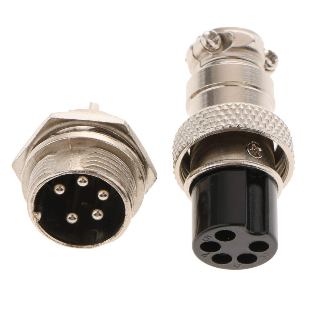 Flameer 1pair GX16-2/3/5/6/8 Pins Air Plug, Aviation Plug And Socket, Connectors, Cable Plug Socket, Aviation Panel Connector - GX16-5 Pin