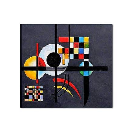 I Colori del Caribe Quadri Astratti Dipinti A Mano su Tela Geometrici  Omaggio A Kandinsky Alta QUALITA\' Made in Italy Nero Rosso - Gravitation