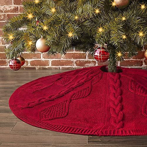 LimBridge Christmas Tree Skirt, 48 inches Diamond Knit Knitted Thick Rustic Xmas Holiday Decoration, Burgundy (Skirt Knit Christmas Pattern Tree)