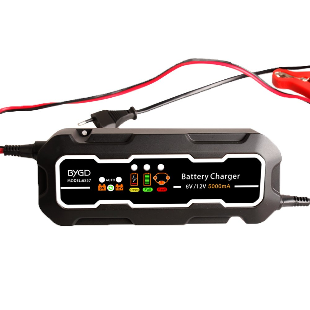 FOLCONROAD 6V/12V Self-recognition Car and Motorcycle Electric Battery Automatic Charger/Maintainer
