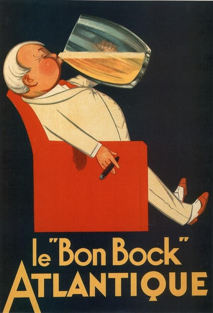 Le Bon Bock Atlantique Vintage French Beer Liquor Mug Advertisement Laminated Dry Erase Sign Poster 24x36