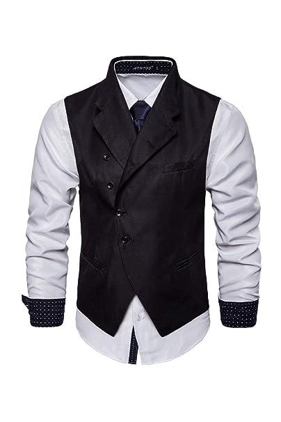Zilcremo Mens Suit Vest Waistcoat Slim Fit Business Dress ...