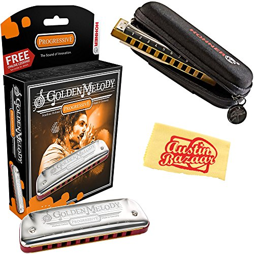 Hohner 542 Golden Melody Harmonica - Key of Bb Bundle with Carrying Case and Austin Bazaar Polishing Cloth