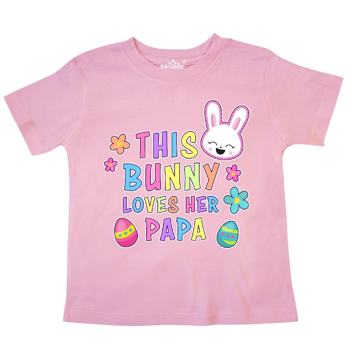 inktastic This Bunny Loves Her Papa with Bunny Face and Flowers Toddler T-Shirt