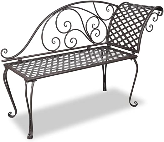 Unfade Memory Patio Reclining Chairs Garden Chaise Lounge 50.4 Steel Bench Antique Brown
