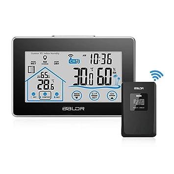 Digital Touchscreen Thermometer Hygrometer Innen Luftfeuchtigkeit Uhr Alarm DE