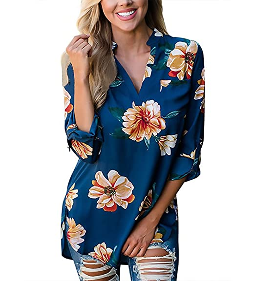 Mujer Camisas Elegantes Vintage Fiesta Estampadas De Flores Tops Camisetas V Cuello Manga 3/4