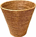 Saffron Trading Company Large Round Waste Basket 13.5(8)x13.5''H - Antique Brown