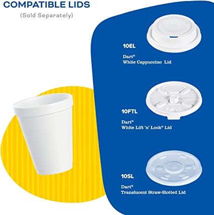 Dart 10SL Plastic Lids Cup Lids Fits 10oz Cups Translucent Case of 1000 Pc New