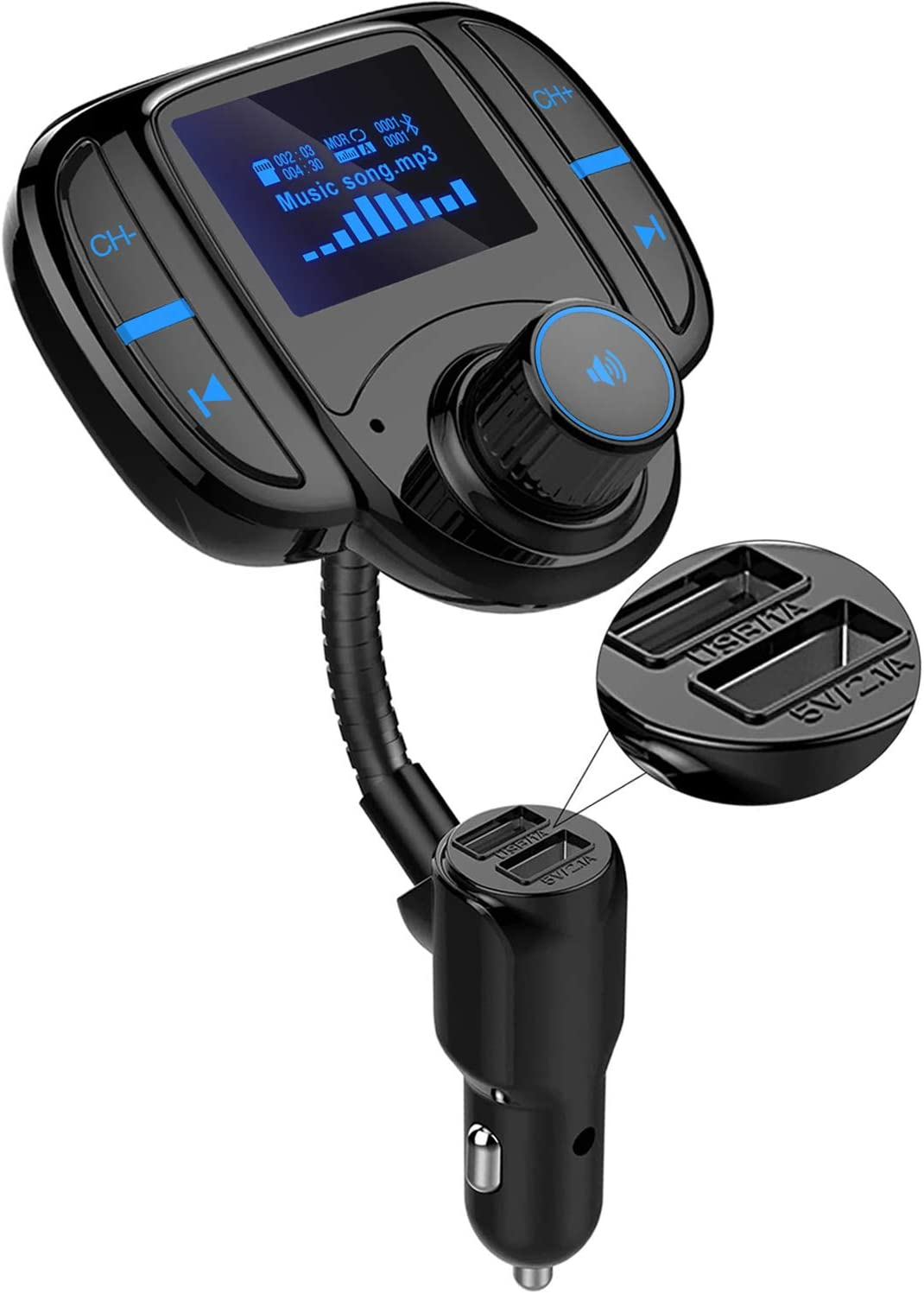 Wireless Audio Bluetooth Car Adapter Handsfree Call Bluetooth Car Kit with 1.7 LCD Screen Dual USB Ports and AUX Bluetooth FM Transmitter for Car