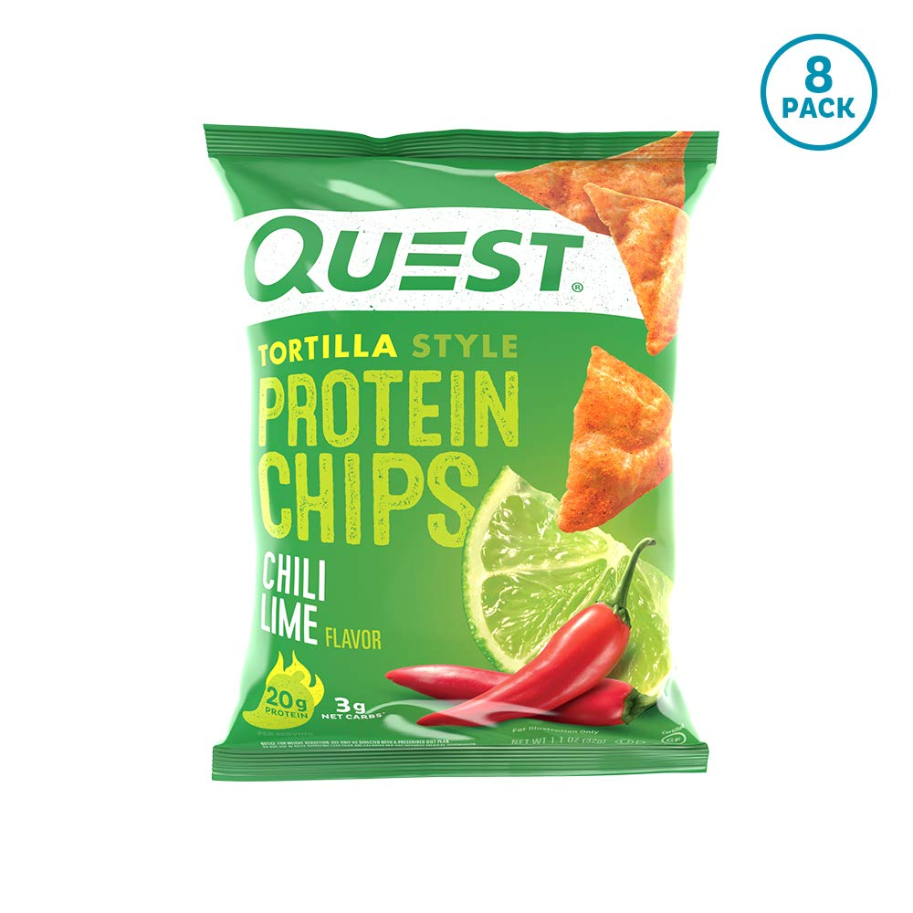 Quest Nutrition Tortilla Style Protein Chips, Chili Lime, Low Carb, Gluten Free, Baked, 8 Count by Quest Nutrition