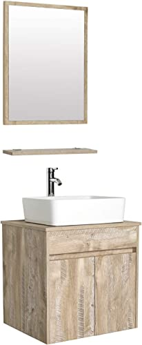 eclife 24 Bathroom Vanity Sink Combo Wall Mounted Natural Cabinet Vanity Set White Ceramic Vessel Sink Top, W Chrome Faucet, Pop Up Drain Mirror T03E03AK