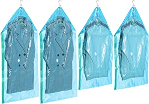 TAILI Hanging Vacuum Storage Garment Bags 3-in-1 Airtight 80% Space Saver Compression Bags for Coats, Suits, Dress, Jackets (2 Long 53x27.6 in, 2 Short 41.3x27.6 in)