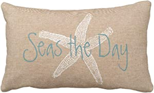 Emvency Throw Pillow Cover Seas The Day Vintage Starfish On Canvas Look Decorative Pillow Case Whimsical Home Decor Rectangle Queen Size 20x36 Inch Cushion Pillowcase