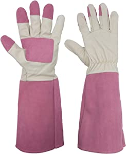 Rose Pruning Gardening Gloves for Men & Women, Thornproof Long Gauntlet Gloves, Pigskin Leather - Breathable & Durability (Large)