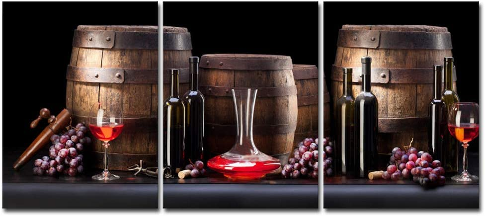 Pyradecor 3 Panels Red Wine Bottle and Barrel Grape Fruit Canvas Prints Wall Art Modern Food Vintage Pictures Paintings Giclee Artwork for Kitchen Living Room Home Decorations