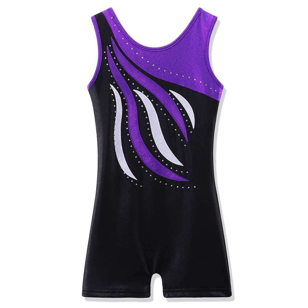 BAOHULU Leotard for Toddler Girls Gymnastics Shorts Sparkle Embroidery Tank Biketards One Piece B165_BlackPurple_110 Black Purple by BAOHULU