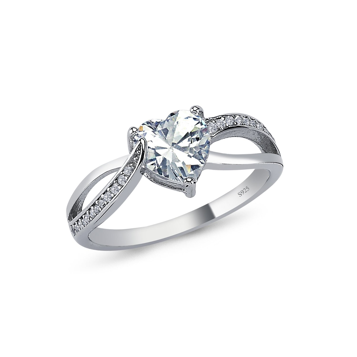 925 Solid Sterling Silver 7MM Cushion AAAAA+ Gem Grade Quality HEART and INFINITY Design Total 1.25 CARAT Bridal Sets Anniversary Promise Engagement Wedding CZ Ring Comfort Fit and Rhodium Plated