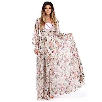 Gaddrt Women V Neck Long Sleeve Chiffon Floral Long Maxi Evening Party Dress Beige (S