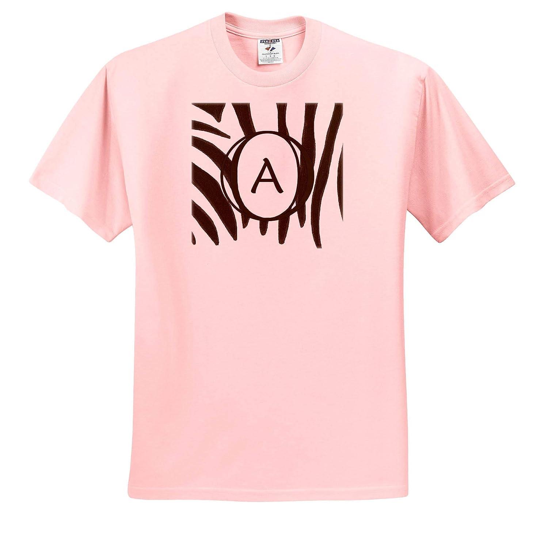 ts/_312247 Black and White Zebra Print Stripes Monogram Letter A Adult T-Shirt XL 3dRose CherylsArt Monograms