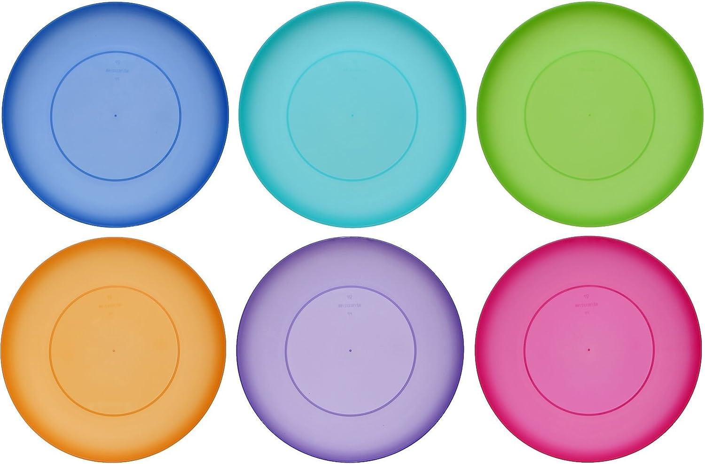 idea-station Neo Placa de plástico 21,5 cm, 6 Piezas, Coloridas, Redondas, apilables, Plato de Pastel, Plato de merienda, Plato de niños aplicable, Camping