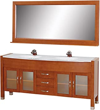 Wyndham Collection Daytona 71 Inch Double Bathroom Vanity In Cherry With White Man Made Stone Top With White Integral Sinks Bathroom Vanities Amazon Com