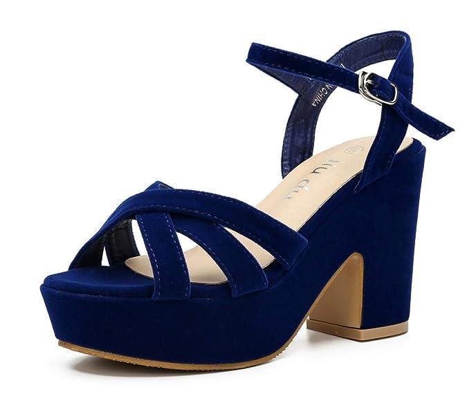 70s Shoes, Platforms, Boots, Heels WSKEISP Womens Ankle Strap Chunky High Heels Open Toe Wedge Heeled Sligback Platform Sandals $33.97 AT vintagedancer.com