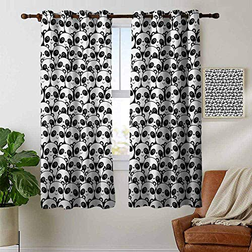(petpany Modern Farmhouse Country Curtains Black and White,Monochrome Illustration of Pandas Indigenous Chinese Endangered Spices,Black White,Design Drapes 2 Panels Bedroom Kitchen Curtains)