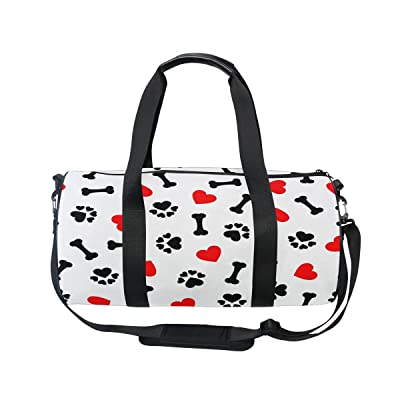 ALAZA Animal Dog Paw Print Red Heart Travel Duffel Bag Sport Gym Luggage Bag for Men Women cheap