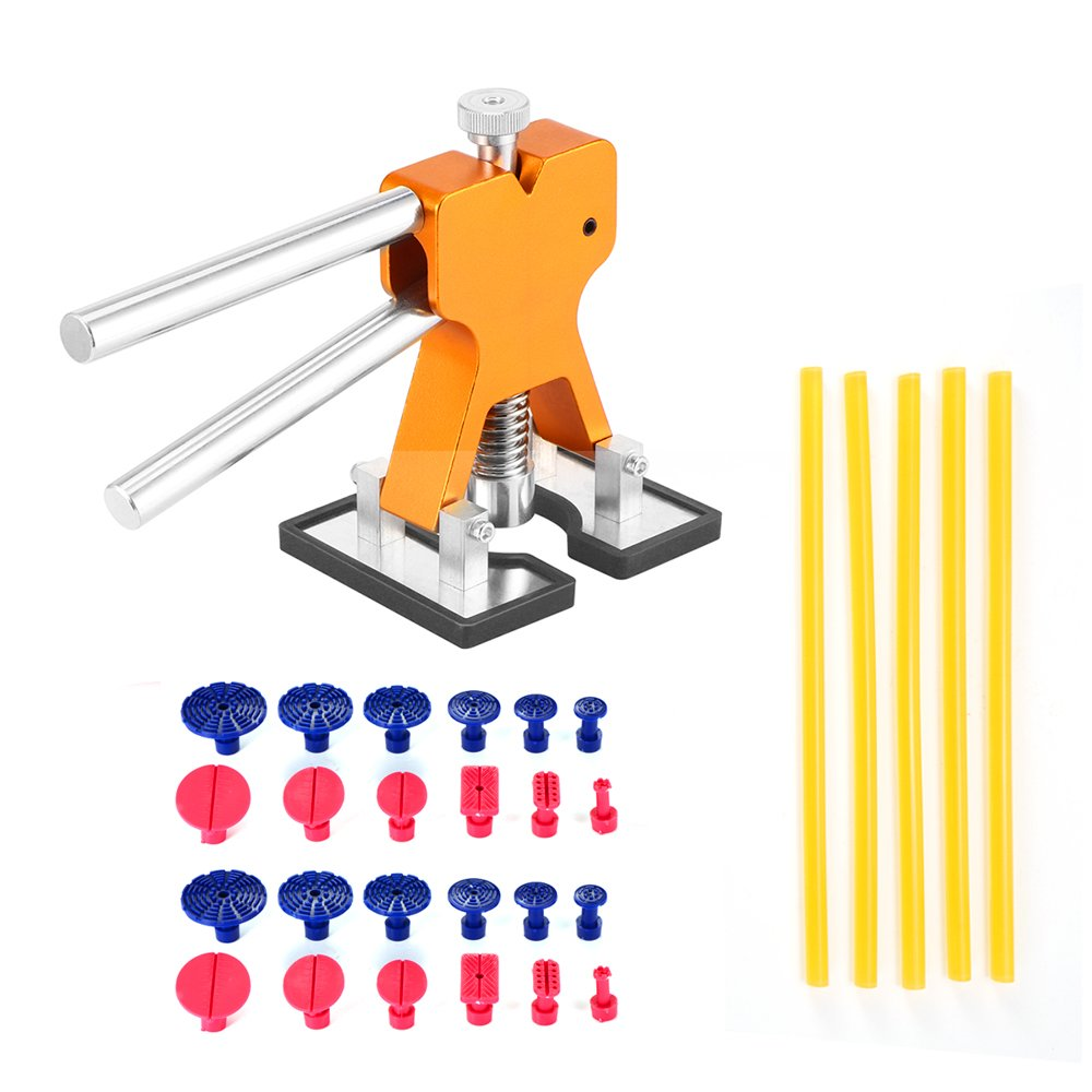 Konesky PDR Dent Repair Kit, Dent Repair Tools Set Aluminum Alloy Stainless Steel Dent Puller Golden Dent Lifter Dent Removal Kit with 24pcs Glue Tabs and 5pcs Glue Stick CFA828431KEE15P32JILBO