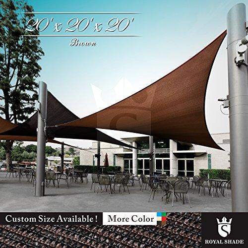 Royal Shade 20 x 20 x 20 Brown Triangle Sun Shade Sail Canopy, 95 UV Blockage, Heavy Duty 200GSM, Custom Made Size