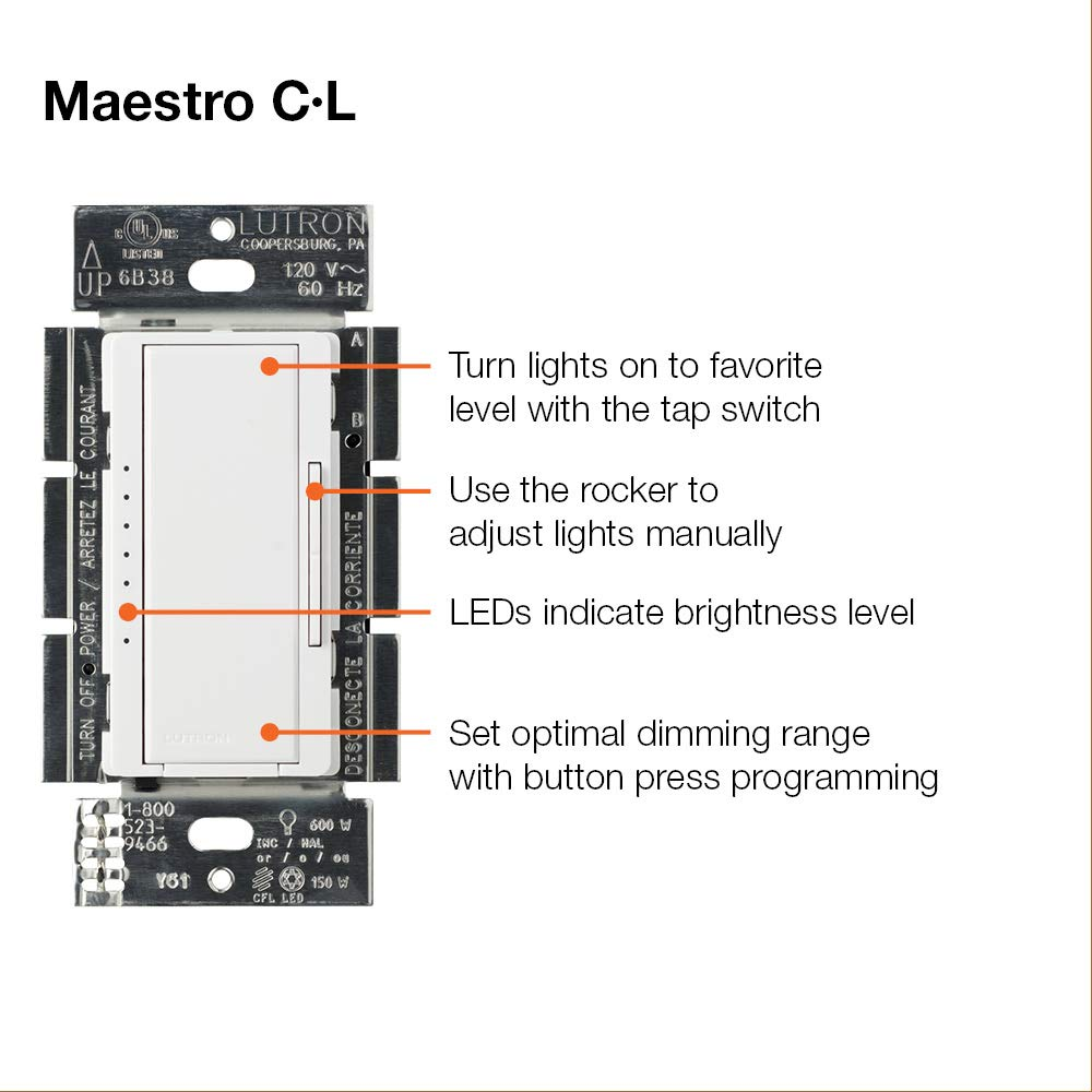 Lutron Maestro Cl Dimmer Switch For Dimmable Led Halogen Circuit Incandescent Bulbs Single Pole Or Multi Location Macl 153m Wh White Switches