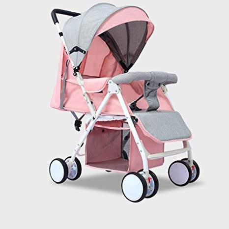 Opinión sobre Cochecito de bebé, Cochecito, siéntese, Cochecito Plegable portátil, brotes de bambú de Cuatro Ruedas, Rosa para niños