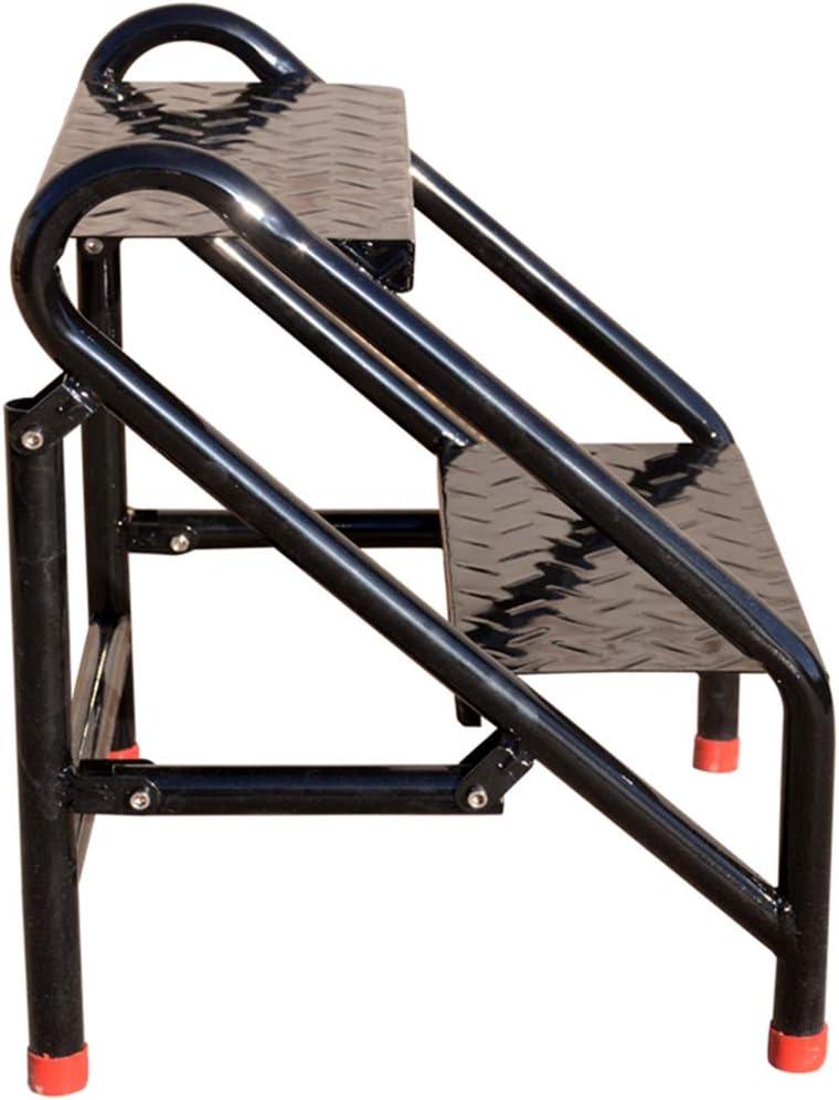 Escalera portátil Industrial de 2 peldaños Escalera escalonada, Escaleras de escaleras de Acero Inoxidable de Acero Inoxidable Seguridad para Adultos, Herramienta de jardín en el hogar en Negro: Amazon.es: Hogar