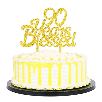 PALASASA Gold Glitter Acrylic 90 Years Blessed Cake Topper