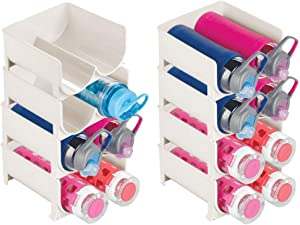 mDesign Plastic Freestanding Water Bottle Storage Organizer for Kitchen Countertop, Table, Pantry, Fridge - Holds Water Bottles, Pop/Soda, Wine, Beer - Stackable, 16 Bottles, 8 Pack - Cream/Beige