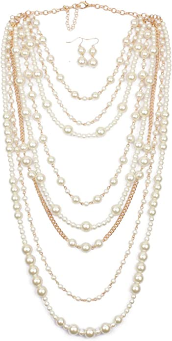Multi Strand Necklace Faux Pearls  Gold and Gray Colored Metal Long Chains