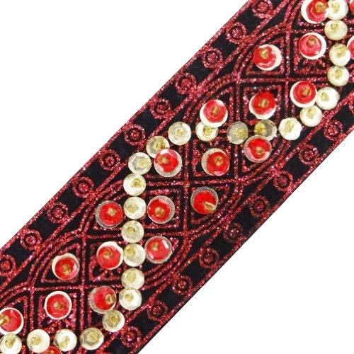 Black Ribbon Trim Decorative Sequins Sew Designer Dress Border Lace By The Yard